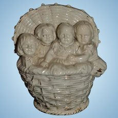 Old Basket of Babies Dolls Children Vase Figurine SWEET!