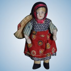 Antique Doll Miniature All Bisque Jointed Dressed Dollhouse