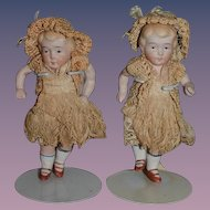 Antique Doll Miniature All Bisque Twins Jointed Dollhouse