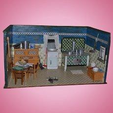 Antique Doll German Dollhouse Room Box Kitchen FILLED w/ Miniatures Stove WONDERFUL