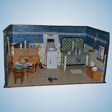 Antique Doll German Dollhouse Room Box Kitchen FILLED w/ Miniatures Stove WONDERFUL