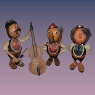 Vintage Doll Wood Set Anri Casy Boys C. Casagrande  Carved Signed Three Dolls