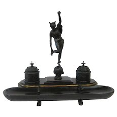 Victorian Bronze & Marble Figural Inkwell