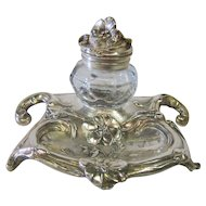 Art Nouveau Silver-plated Inkwell