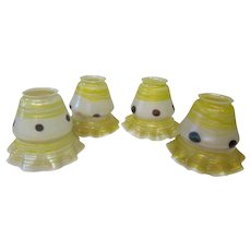 A Set of 4 Decorated Art Glass Shades