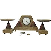 French Art Deco Marble & Bronze Clock Set