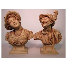 A pair of porcelain busts