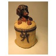 Terra cotta Figural (Daschund) tobacco jar