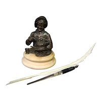 Vintage French Bronze Figural Inkwell