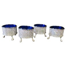 Sterling & Cobalt Blue Glass Salt Cellars
