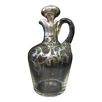 Sterling Overlay Crystal Cordial Pitcher