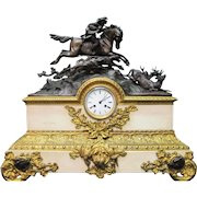 Palace size French Equestrian Bronze & Marble Mantle Clock