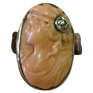 Vintage 19th Century Carved Coral/Diamond Cameo Ring