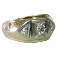 Vintage Men's 14K Gold & Diamond Ring, circa 1950's