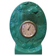 Vintage Art Deco Green Glass Table Clock