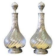 Vintage Pair of Sterling Silver & Crystal Cologne Bottles