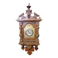 Vintage Continental Austrian Oak Wall Clock