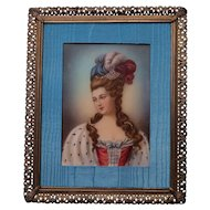 Vintage Celluloid Portrait Painting, Framed