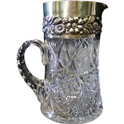 Vintage Late 19th Century American Cut Glass & Sterling Pitcher