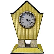 Vintage Art Deco Enamel & Sterling Silver Travel Clock