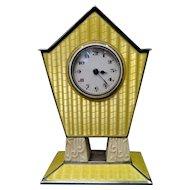 Vintage Art Deco Enamel & Sterling Silver Travel Clock