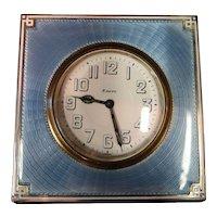 Vintage Art Deco Enamel & Sterling Silver Desk Clock