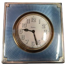 Vintage Art Deco Enamel & Sterling Silver Desk Clock