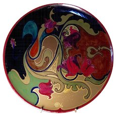 Gouda Art Pottery Charger, Art Nouveau Period