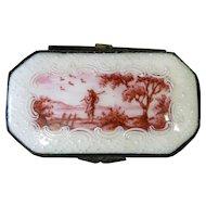 Vintage White Enamel Snuff Box