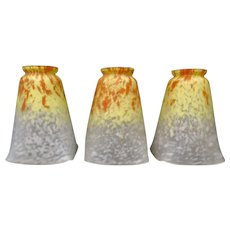 Vintage Set of Three Early 20th Century Art Glass Shades by Schneider.