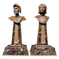 Vintage Bronze Cabinet Busts