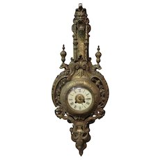 Vintage Ornate French Bronze Wall Clock