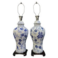 Vintage Pair of Chinese Decorated Porcelain Table Lamps