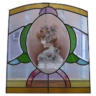 Vintage Art Nouveau Leaded Glass Panel
