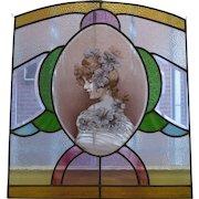 Vintage Art Nouveau Leaded Glass Panel
