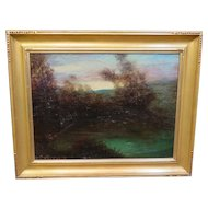 Vintage signed American Oil Painting, 1921