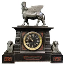 Vintage Early 1920's American Egyptian Revival Mantle Clock