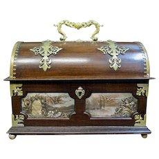 Vintage Art Nouveau Mahogany, Bronze & Metal Casket Box