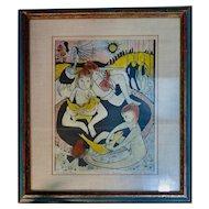 """Vintage Eerie Wood Block Print, """"Children's Games"""" by Louise August"""