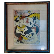 "Vintage Eerie Wood Block Print, ""Children's Games"" by Louise August"