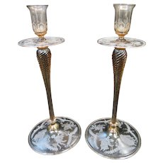 Vintage Steuben Decorated Candlesticks