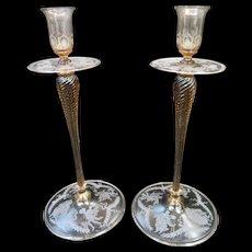 Vintage Steuben Decorated Candlesticks