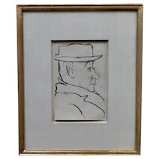 Vintage Joseph Stella Pencil Drawing, Untitiled