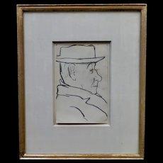 Vintage Joseph Stella Pencil Drawing, Untitiled
