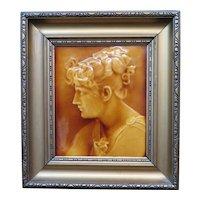 "Vintage American Porcelain Portrait Tile, ""Parthenia"" by Issac Broome, Framed"
