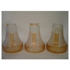 Three classical Art Deco lamp shades