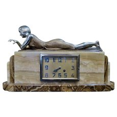 Vintage Art Deco Period Bronze & Marble Mantel Clock