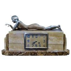 Vintage Art Deco Period Bronze & Marble Mantel Clock