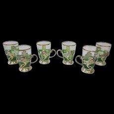 Vintage Art Nouveau Holders w/ Moser Glasses