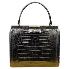 Vintage Black Alligator Hand Bag by Manon